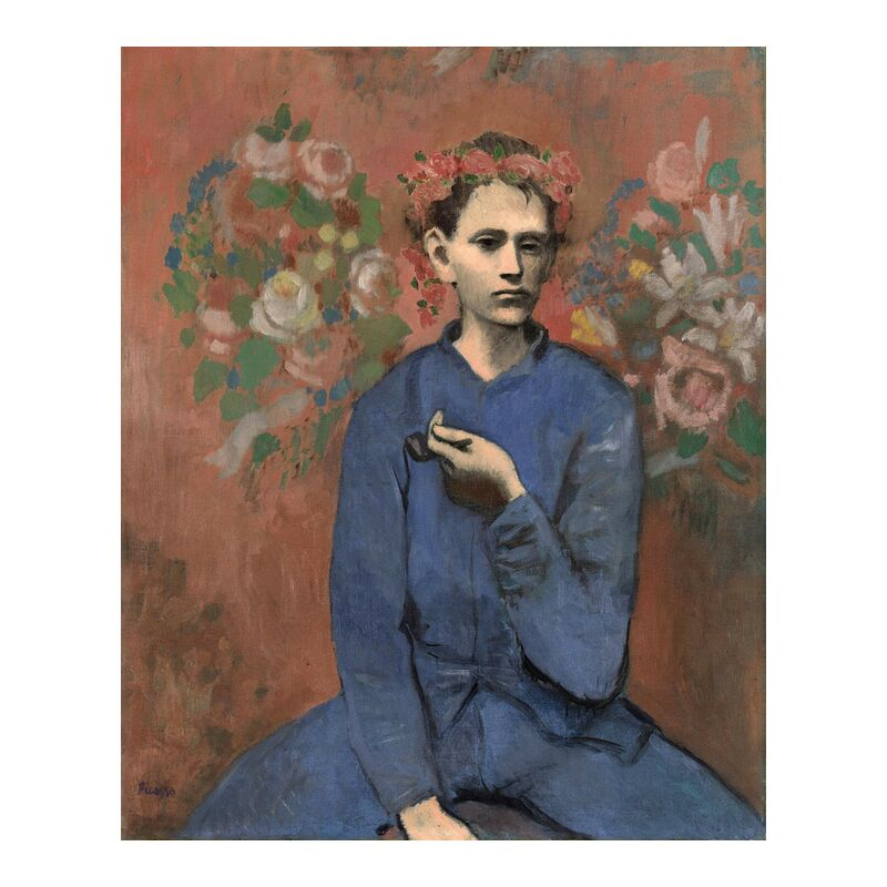 Boy with pipe - PABLO PICASSO from AUX BEAUX-ARTS, Prodi Art, PABLO PICASSO, smoke, painting, blue work, worker, boy, pipe, smokehouse