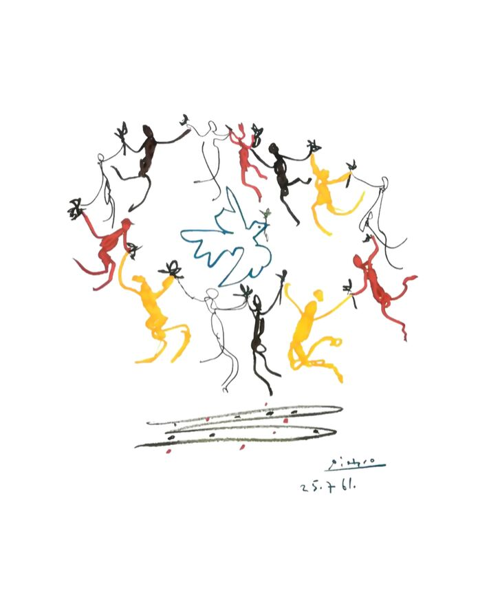 The dance of youth - PABLO PICASSO from AUX BEAUX-ARTS, Prodi Art, ronde, dance, PABLO PICASSO, peace, dove, children, youth, young, drawing, pencil drawing