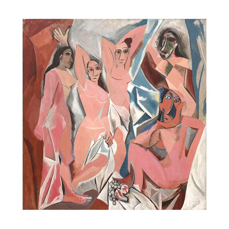 The Ladies of Avignon - PABLO PICASSO desde AUX BEAUX-ARTS, Prodi Art, mesa, mujeres, Aviñón, PABLO PICASSO, abstracto, pintura, dibujo, Francia