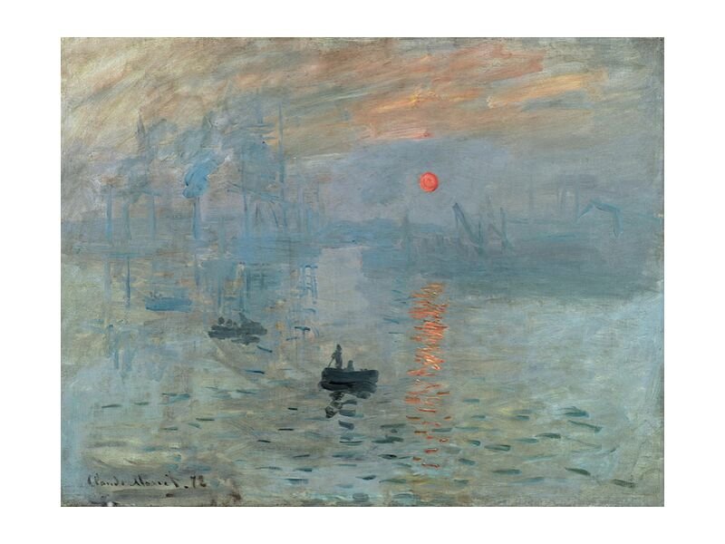 Impression, Sunrise 1872 - CLAUDE MONET from Aux Beaux-Arts, Prodi Art, job, CLAUDE MONET, factory, ship, small boat, Sun, boat, ocean, sea