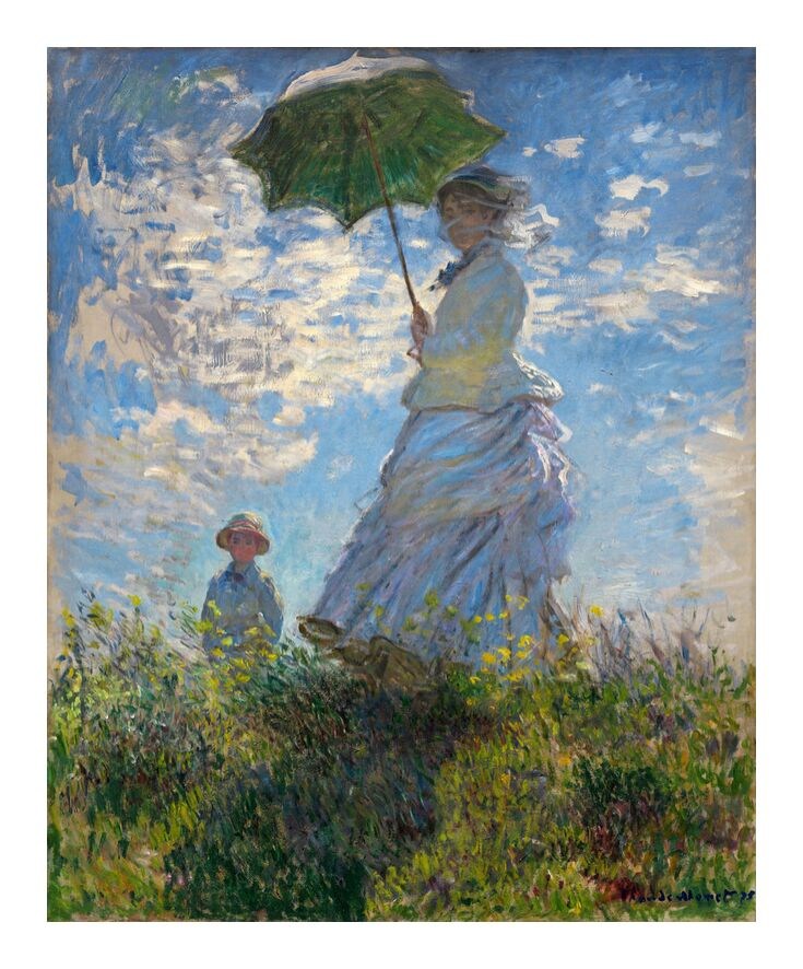 The Stroll - CLAUDE MONET 1875 from Aux Beaux-Arts, Prodi Art, woman, child, painting, clouds, blue, meadow, CLAUDE MONET, umbrella, parasol