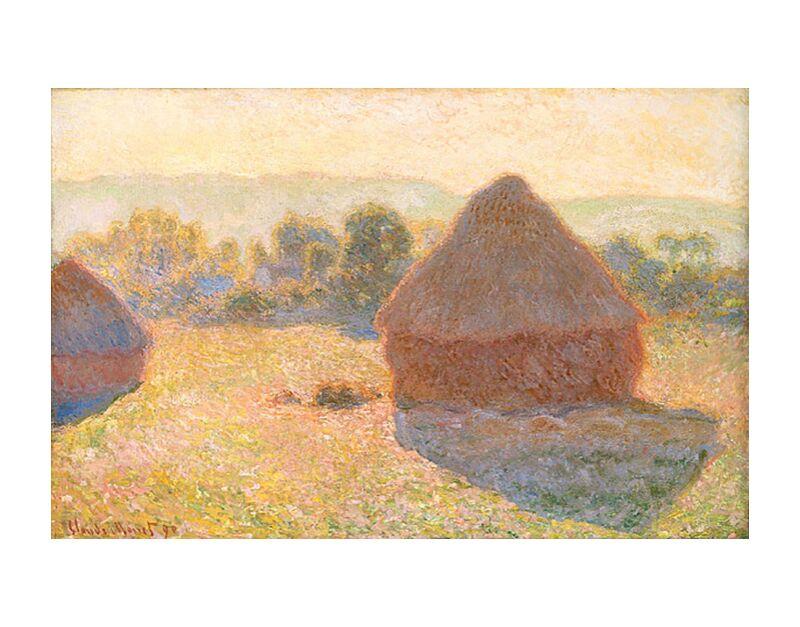 Haystacks, middle of the day - CLAUDE MONET 1891 desde AUX BEAUX-ARTS, Prodi Art, Pajares, fiesta, verano, campo, sol, campos de trigo, campos, prado