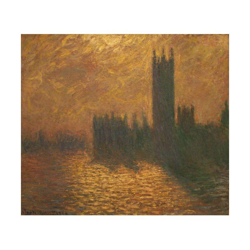 Houses of Parliament, stormy sky - CLAUDE MONET 1905 from Aux Beaux-Arts, Prodi Art, stormy sky, CLAUDE MONET, Sun, capital, River, Thames, sky, london