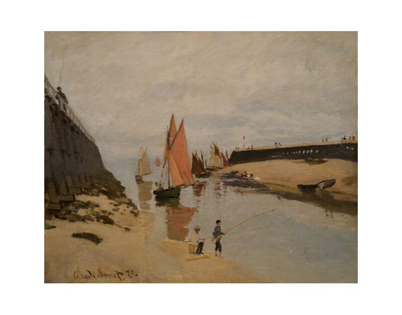 The harbour at Trouville - CLAUDE MONET 1870 desde AUX BEAUX-ARTS, Prodi Art, Puerto, río, río, niños, nubes, pintura, CLAUDE MONET, Trouville, melocotón, barcos, veleros, entrada al puerto