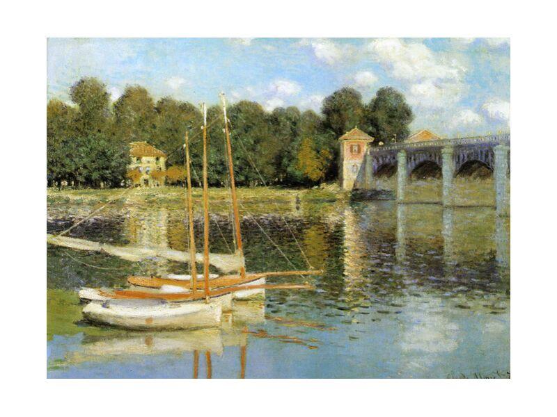 The Argenteuil Bridge - CLAUDE MONET 1874 from Aux Beaux-Arts, Prodi Art, River, painting, river, sky, clouds, boats, mill, CLAUDE MONET, Argenteuil, , sailboat