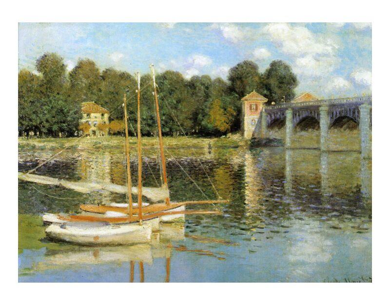 The Argenteuil Bridge - CLAUDE MONET 1874 desde AUX BEAUX-ARTS, Prodi Art, velero, pont, Argenteuil, CLAUDE MONET, molino, barcos, nubes, cielo, río, pintura, río
