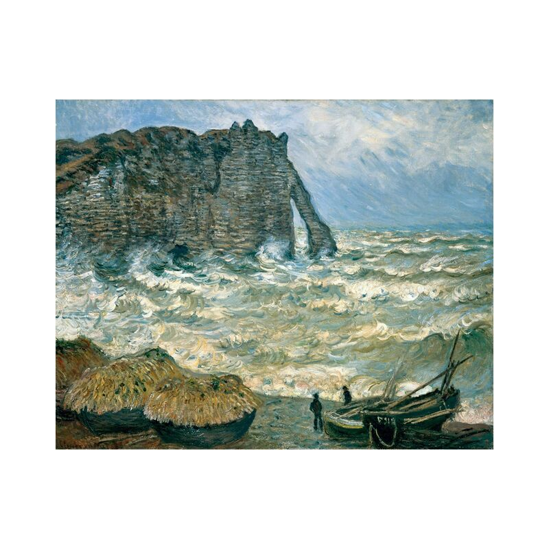 Stormy Sea in Étretat - CLAUDE MONET 1883 from AUX BEAUX-ARTS, Prodi Art, sea, storm, painting, cliff, boat, marine, sky, clouds, CLAUDE MONET, turbulent sea