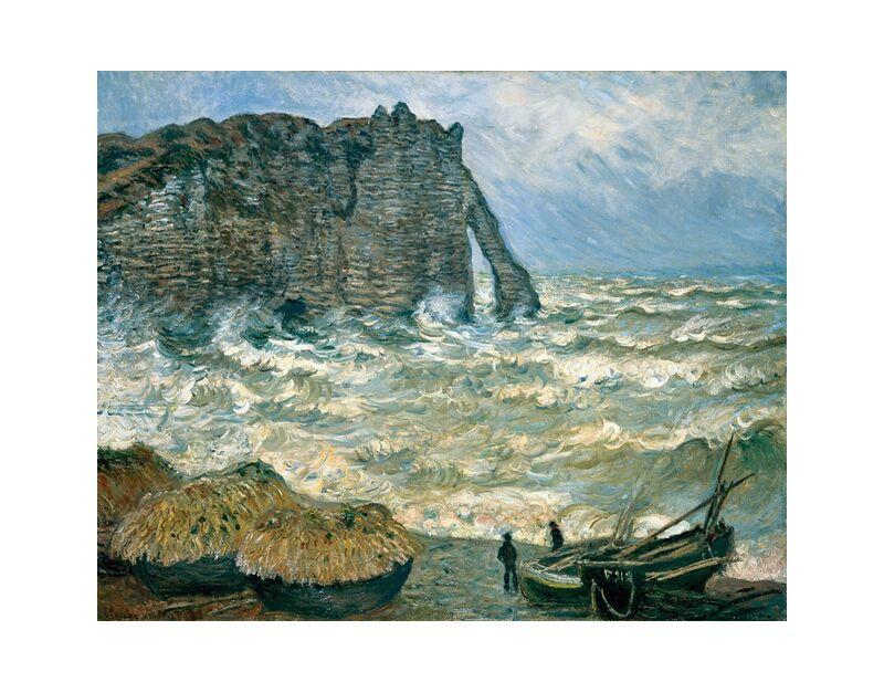 Stormy Sea in Étretat - CLAUDE MONET 1883 desde AUX BEAUX-ARTS, Prodi Art, mar agitado, CLAUDE MONET, nubes, cielo, marina, barco, acantilado, pintura, tormenta, mar