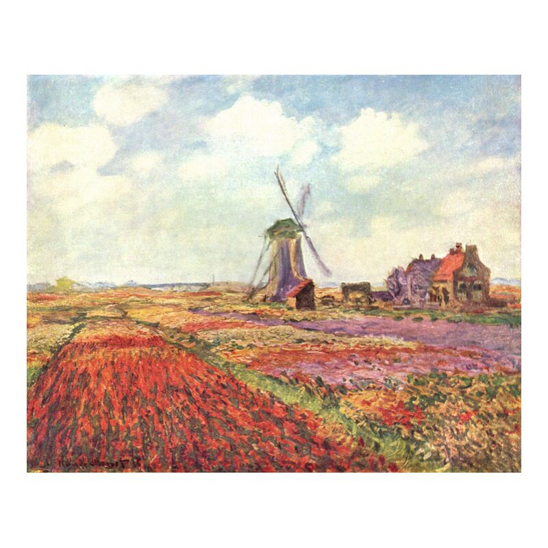 Tulip fields in Holland - CLAUDE MONET 1886 from Aux Beaux-Arts, Prodi Art, fields, mill, nature, agriculture, sky, clouds, CLAUDE MONET, tulip fields, tulip