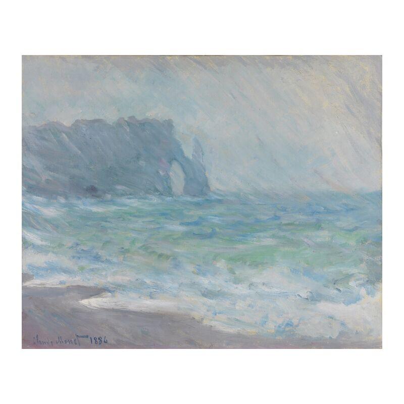 Étretat in the rain - CLAUDE MONET 1886 from Aux Beaux-Arts, Prodi Art, rain, cliff, beach, sea, wave, ocean, turbulent sea, CLAUDE MONET,