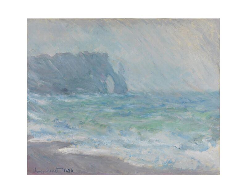 Étretat in the rain - CLAUDE MONET 1886 desde AUX BEAUX-ARTS, Prodi Art, galais, CLAUDE MONET, mar agitado, océano, ola, mar, playa, acantilado, lluvia