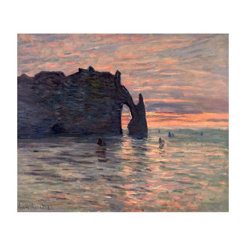 Sunset in Etretat - CLAUDE MONET 1883 from Aux Beaux-Arts, Prodi Art, sea, beach, Sun, holiday, sunset, CLAUDE MONET