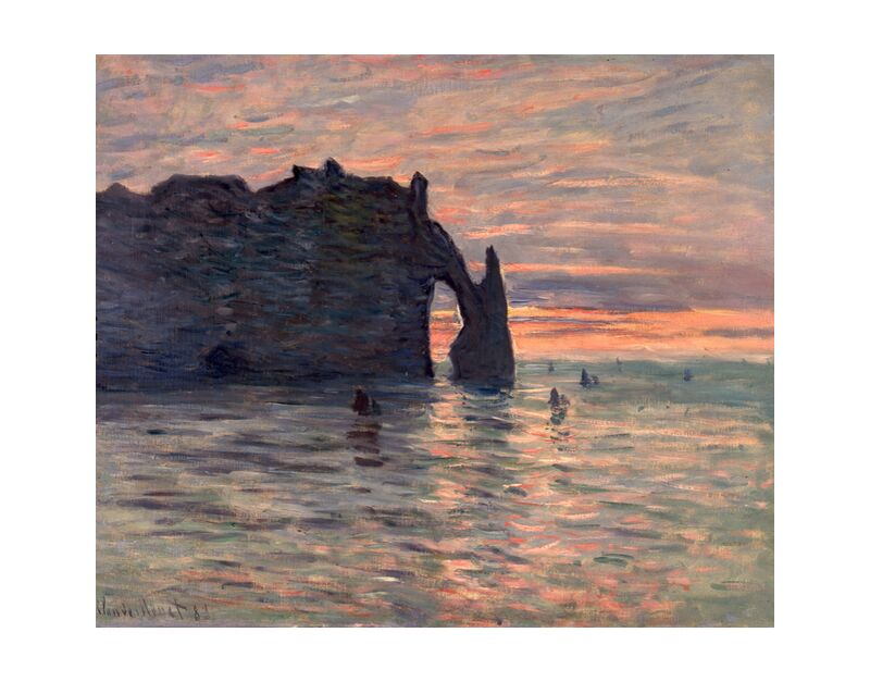 Sunset in Etretat - CLAUDE MONET 1883 desde AUX BEAUX-ARTS, Prodi Art, CLAUDE MONET, puesta de sol, fiesta, sol, playa, mar