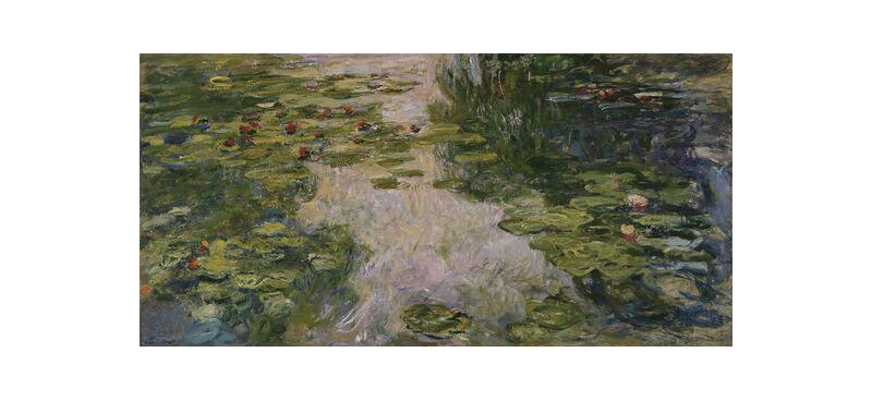 Water Lilies - CLAUDE MONET - 1917 from AUX BEAUX-ARTS, Prodi Art, nymphéas, nature, lake, beach, holiday, water, green, CLAUDE MONET, bord de lac