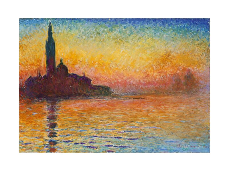 San Giorgio Maggiore at Dusk - CLAUDE MONET from AUX BEAUX-ARTS, Prodi Art, CLAUDE MONET, cathedral, beach, sea, holiday, sunset, dusk, Sun, River, church