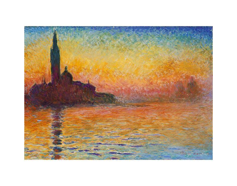 San Giorgio Maggiore at Dusk - CLAUDE MONET desde AUX BEAUX-ARTS, Prodi Art, CLAUDE MONET, catedral, playa, mar, fiesta, puesta del sol, oscuridad, sol, río, iglesia