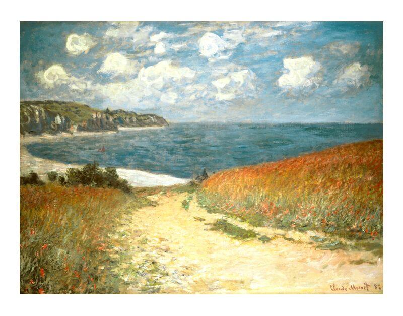 PATH THROUGH THE CORN AT POURVILLE - CLAUDE MONET - 1882 desde AUX BEAUX-ARTS, Prodi Art, CLAUDE MONET, pintura, amapola, trigo, fiesta, acantilado, nubes, océano, mar, playa, camino