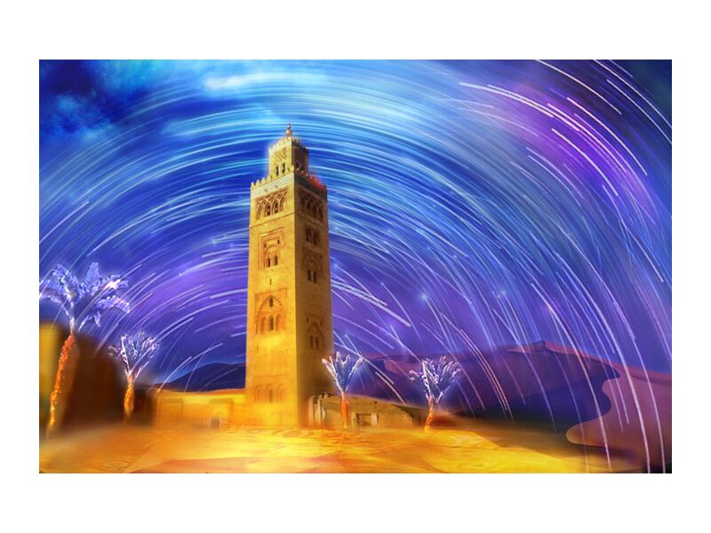 Marrakesh from Adam da Silva, Prodi Art, Magic, palm, mosque, shooting Stars, sand, dune, sky, stars, desert, Morocco, colors