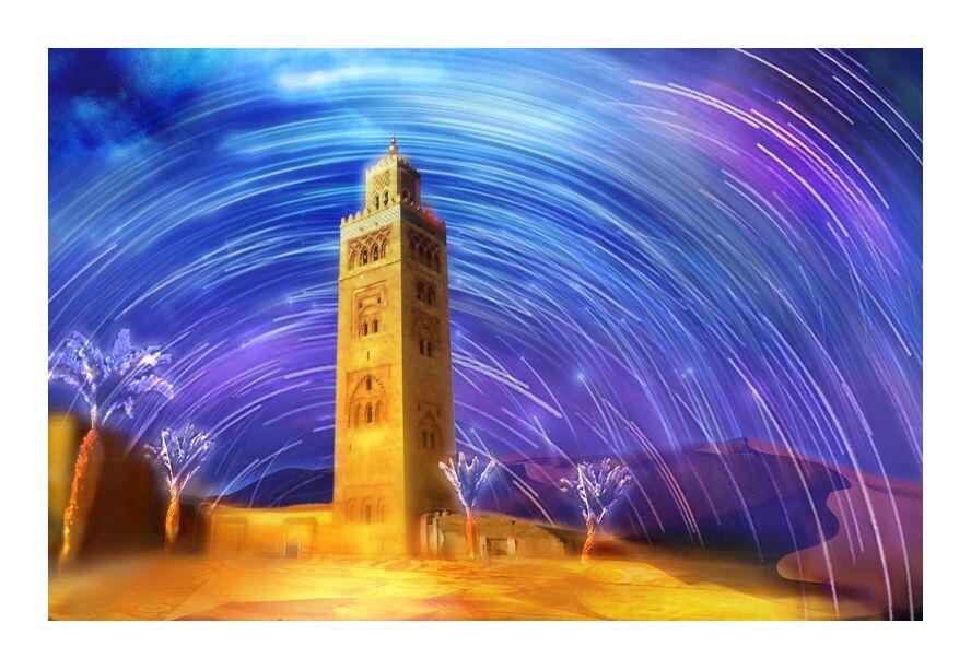Marrakesh from Adam da Silva, Prodi Art, Magic, palm, mosque, shooting Stars, sand, dune, sky, stars, desert, Morocco, colors