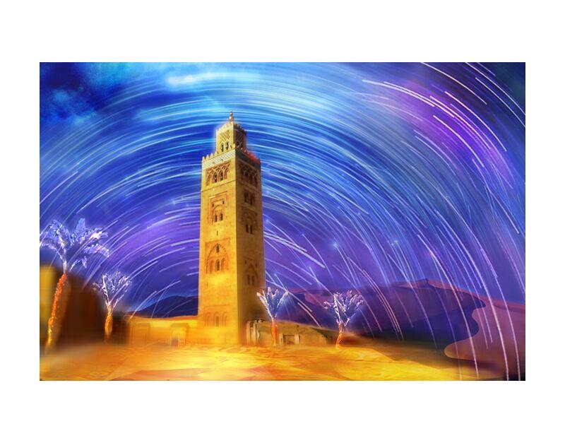 Marrakesh from Adam da Silva, Prodi Art, colors, Morocco, desert, stars, sky, dune, sand, shooting Stars, mosque, palm, Magic