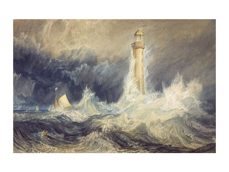 Bell Rock Lighthouse - WILLIAM TURNER 1824 from Aux Beaux-Arts, Prodi Art, violent wind, lighthouse light, headlight, WILLIAM TURNER, painting, sailing ship, boat, waves, wind, thunderstorm, storm, ocean, turbulent sea, sea