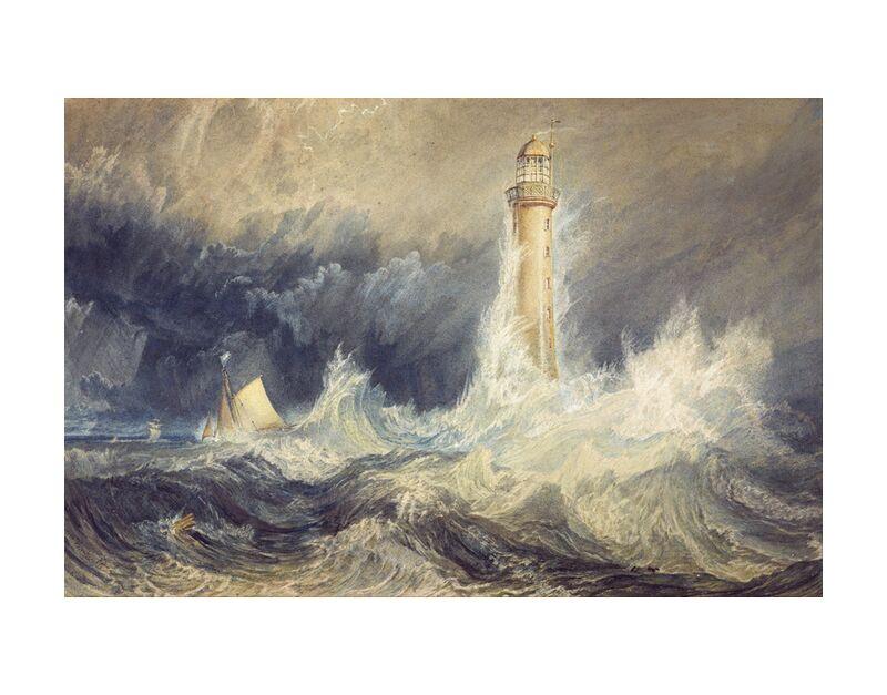 Bell Rock Lighthouse - WILLIAM TURNER 1824 desde AUX BEAUX-ARTS, Prodi Art, mar, mar agitado, océano, tormenta, tormenta, viento, olas, barco, barco de vela, pintura, WILLIAM TURNER, faro, luz del faro, viento violento