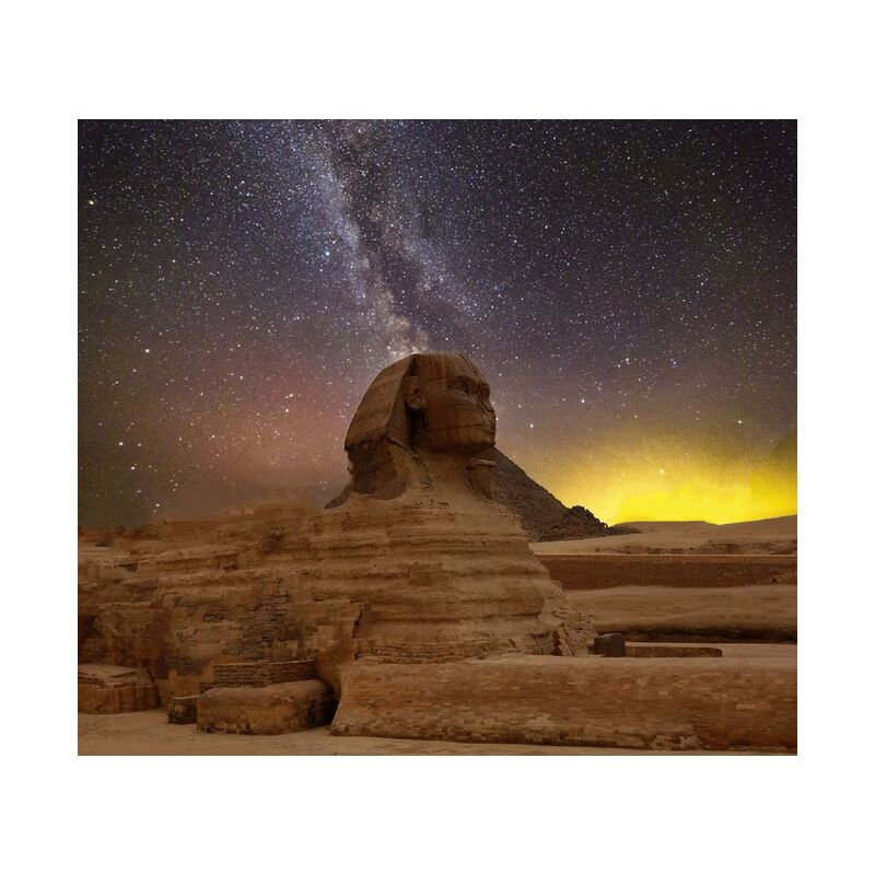Grand sphinx de gizeh from Aliss ART, Prodi Art, religion, pyramids, milky way, great sphinx of giza, egypt, travel, temple, sunset, Sun, statue, stars, starry sky, space, sculpture, outdoors, nightsky, landscape, evening sky, evening, desert, daylight, dawn, dark, outer space, art, ancient