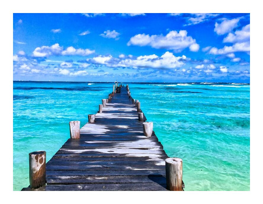 Vers la mer de Aliss ART, Prodi Art, voir le pont, turquoise, le surf, relaxation, des loisirs, Mexique, Caraïbes, en bois, bois, vagues, eau, vacances, tropical, Voyage, tourisme, été, rivage, paysage marin, mer, sable, recours, paisible, paradis, en plein air, océan, nature, luxe, loisir, île, horizon, lumière du jour, pont, beau, plage