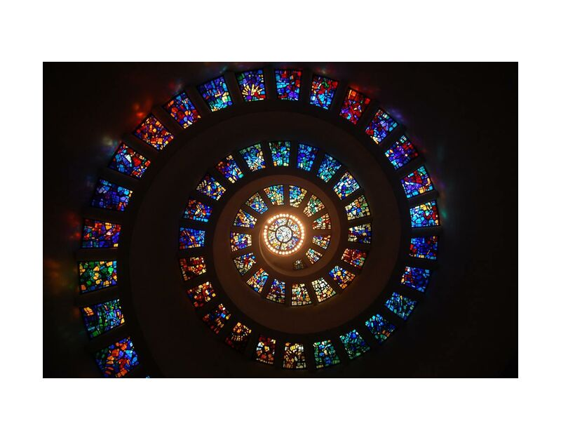 Stained glass from Aliss ART, Prodi Art, stained glass, spiral, pattern, light, color, art, architecture