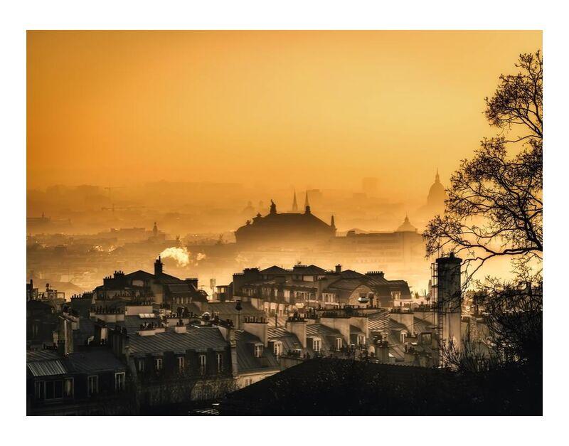 Capital under the fog from Aliss ART, Prodi Art, silhouettes, Urban, travel, horizon, sky, silhouette, Paris, outdoors, dark, morning, foggy, fog, dusk, dawn, cityscape, city, church, cathedral, buildings, architecture