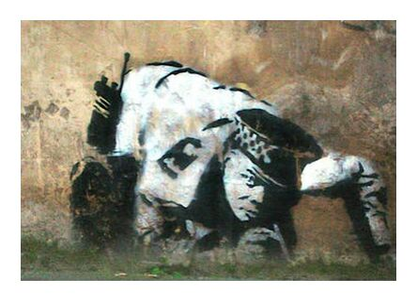 Crouching Policeman - BANKSY from AUX BEAUX-ARTS, Prodi Art, Art photography, Giclée Art print, Prodi Art
